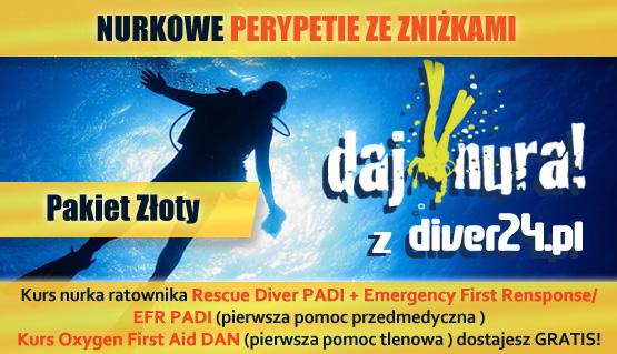 Pakiet Złoty - Kurs Rescue Diver PADI, Emergency First Response PADI + Oxygen First Aid DAN