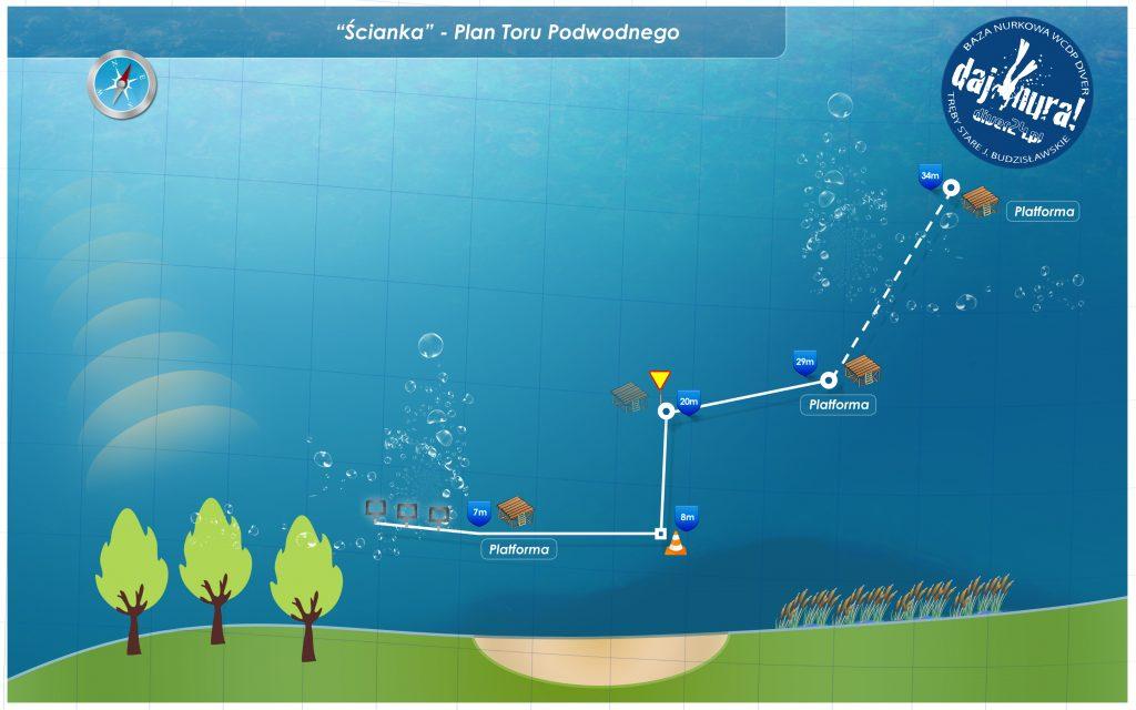 Plan toru podwodnego j. Budzisławskie - Diver24